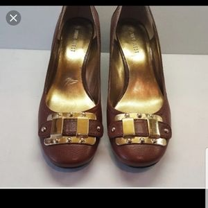 Nine West Wedges With Gold Buckle